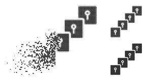 Dot Halftone Locker Blockchain Icon dispersé illustration stock
