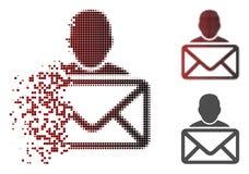 Dot Halftone Mail Recipient Icon déchiqueté illustration de vecteur