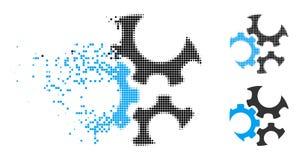Dot Halftone Mechanics Gears Icon rotto illustrazione di stock