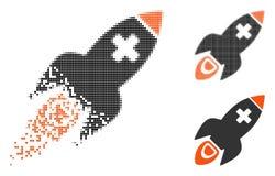 Dot Halftone Medical Rocket Icon réduit en fragments illustration stock