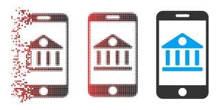 Dot Halftone Mobile Bank Icon decomposto com cara ilustração do vetor