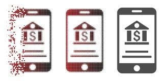 Dot Halftone Mobile Banking Icon cassé Illustration de Vecteur