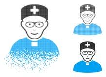 Dot Halftone Monastic Doctor Icon de désintégration avec le visage illustration libre de droits