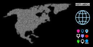 Dot Halftone North America Map Illustration Libre de Droits