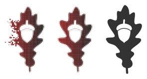 Dot Halftone Oak Acorn Icon décomposé Illustration Libre de Droits