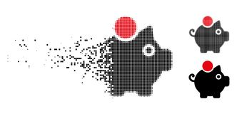 Dot Halftone Piggy Bank Icon cassé illustration de vecteur