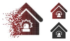 Dot Halftone Realty Alarm Icon cassé illustration stock