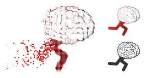 Dot Halftone Running Brain Icon de dissolution illustration libre de droits