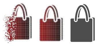 Dot Halftone Shopping Bag Icon réduit en fragments Illustration de Vecteur