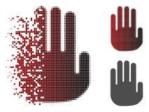 Dot Halftone Stop Hand Icon hecho fragmentos ilustración del vector