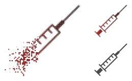 Dot Halftone Syringe Icon de désintégration illustration stock