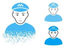 Dot Halftone Taxi Driver Icon de desintegración con la cara ilustración del vector