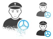 Dot Halftone Taxi Driver Icon descompuesto con la cara ilustración del vector
