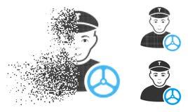 Dot Halftone Taxi Driver Icon disipado con la cara ilustración del vector