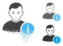 Dot Halftone User Info Icon dissipado com cara ilustração do vetor