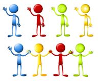 Dot Heads Waving Holding Hands Royalty Free Stock Image
