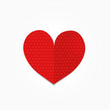 Dot heart. White dot on red heart, this is designed on gradient of white background Stock Images