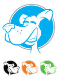 Dog Icon Set. Illustration of a smiling dog on a circular background in various colors Royalty Free Stock Photo