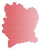 Dot Ivory Coast Map rojo Imagen de archivo