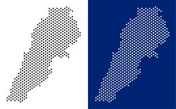 Dot Lebanon Map. Vector geographic map on white and blue backgrounds. Vector mosaic of Lebanon map made from spheric dots vector illustration