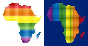 Spectrum Pixel Dotted Africa Map. Dot LGBT Africa map variants. Vector geographic plans in spectrum colors with vertical and horizontal directions on white and stock illustration