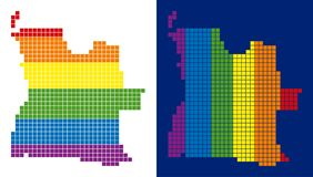 Spectrum Pixel Dotted Angola Map. Dot LGBT Angola map versions. Vector geographic maps in LGBT flag colors with vertical and horizontal directions on white and vector illustration