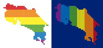 Spectrum Pixel Dotted Costa Rica Map. Dot LGBT Costa Rica map variants. Vector geographic plans in spectrum colors with vertical and horizontal directions on royalty free illustration