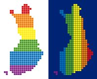 Spectrum Pixel Dotted Finland Map. Dot LGBT Finland map variants. Vector geographic schemes in rainbow colors with vertical and horizontal directions on white Stock Photos