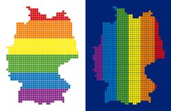 Spectrum Pixel Dotted Germany Map. Dot LGBT Germany map versions. Vector geographic schemes in LGBT rainbow colors with vertical and horizontal directions on vector illustration