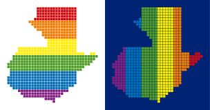 Spectrum Pixel Dotted Guatemala Map. Dot LGBT Guatemala map variants. Vector geographic maps in rainbow colors with vertical and horizontal directions on white Royalty Free Stock Photo