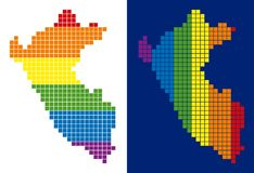 Spectrum Pixel Dotted Peru Map. Dot LGBT Peru map variants. Vector geographic schemes in spectral colors with vertical and horizontal directions on white and Royalty Free Illustration