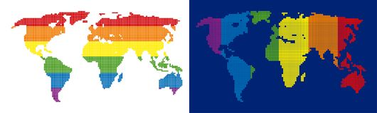 Spectrum Pixel Dotted World Map. Dot LGBT world map variants. Vector geographic plans in rainbow colors with vertical and horizontal directions on white and blue vector illustration