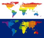 Spectrum Pixel Dotted World Map. Dot LGBT world map versions. Vector geographic plans in LGBT flag colors with vertical and horizontal directions on white and Stock Image