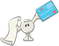 Dot Man with Credit Card and Receipt. Royalty-free clipart picture of a white konkee character holding a receipt and a blue credit card, on a white background Stock Images