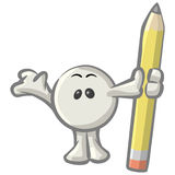 Dot man holding pencil Stock Images