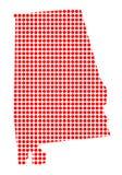 Dot Map rouge de l'Alabama Illustration de Vecteur