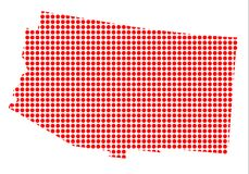 Dot Map rouge de l'Arizona Illustration Stock
