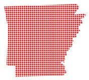 Dot Map rouge de l'Arkansas Images libres de droits