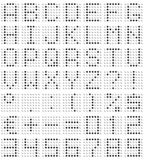 Dot-matrix font. 3D dot-matrix font (49 characters with real reflection, symbol size 500x500pt stock illustration