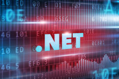 Dot net concept. With red background blue text Royalty Free Stock Photos