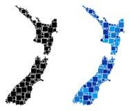 Dot New Zealand Map com versão azul ilustração do vetor