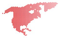 Dot North America Map rouge Images libres de droits