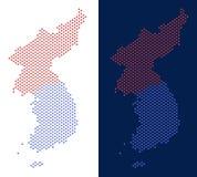 Dot North And South Korea-Kaart royalty-vrije illustratie