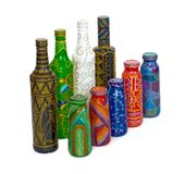 Dot painting. bottle painted with paints. very nice decor. isolate. stock photography