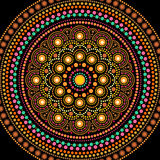Dot painting mandala in aboriginal style, round ornament vector illustration