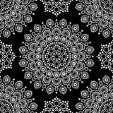 Dot painting monochrome vector seamless pattern with mandalas, Australian ethnic design, Aboriginal dots pattern in white Stock Photos