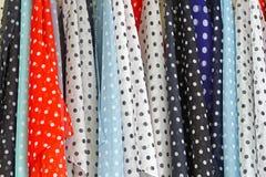 Dot polka fabric. Various color dot polka textile fabric Stock Image