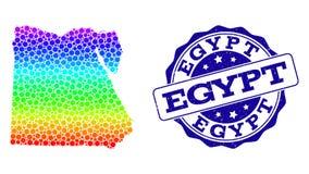 Dot Rainbow Map av Egypten och Grungestämpelskyddsremsan royaltyfri illustrationer
