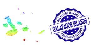 Dot Rainbow Map av Galapagos öar och Grungestämpelskyddsremsan royaltyfri illustrationer