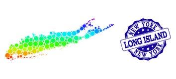 Dot Rainbow Map av Long Island och Grungestämpelskyddsremsan royaltyfri illustrationer